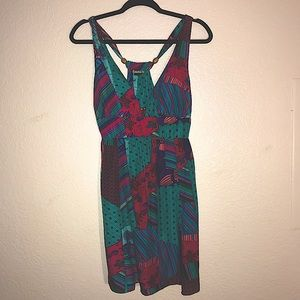 🌻Guess Jeans Dress Colorful Teal Pink Small Y2K